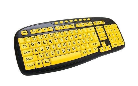 C-TECH klávesnice KB-103MS, kontrastní, černo-žlutá, multimediální, USB, CZ/SK, KB-103MS
