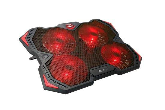 """Chladící podložka C-TECH Zefyros (GCP-01R), casual gaming, 17,3"""", červené podsvícení, regulace otáče"""