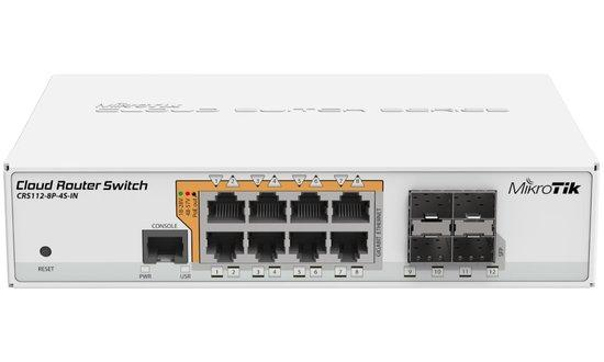 MikroTik Cloud Router Switch CRS112-8P-4S-IN, 128MB RAM, 8xGbit PoE LAN, 4xSFP, vč. L5, CRS112-8P-4S-IN