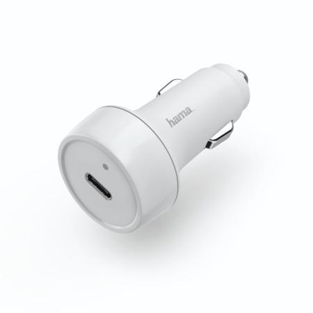 Hama rychlá USB nabíječka do vozidla, USB-C, Quick Charge 3.0 / Power Delivery, 18 W, bílá