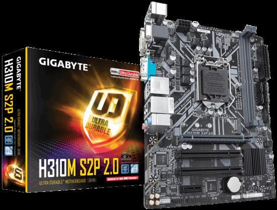 Gigabyte H310M S2P 2.0, 1151, DDR4, PCIe Gen2 x2 M.2, D-Sub, DVI-D, HDMI, H310M S2P 2.0