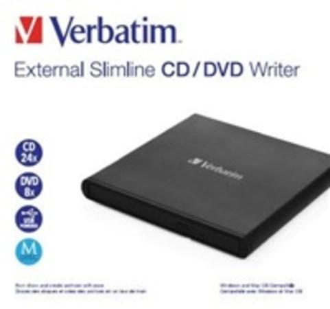 VERBATIM externí mechanika Slimline CD/DVD Writer - without NERO, 53504