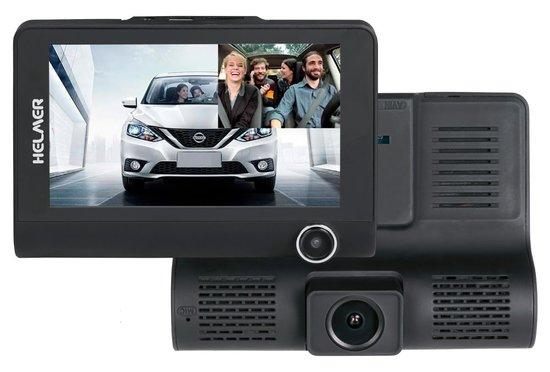 "HELMER kamera do auta Carcam Triple HD/ 4"" TFT displej/ přední kamera 1080p/ tři objektivy/ miniUSB/ micro SD/ CZ/ černá"