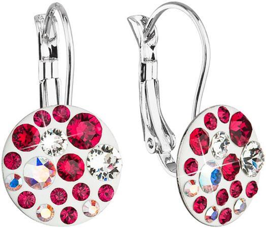 Náušnice bižuterie se Swarovski krystaly červené kulaté 51035.3, crystal,crystal, AB,ruby, červená
