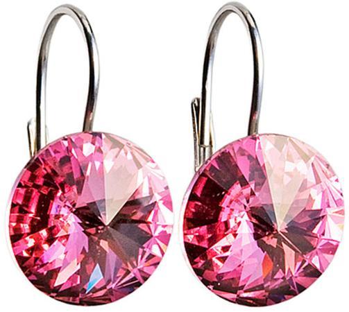 Stříbrné náušnice visací s krystaly Swarovski růžové kulaté 31106.3, rose, růžová