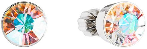 Stříbrné náušnice pecka s krystaly Swarovski AB efekt kulaté 31113.2, crystal, aurore, boreale