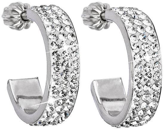 Stříbrné náušnice kruhy s krystaly Swarovski bílý půlkruh 31119.1, crystal, bílá