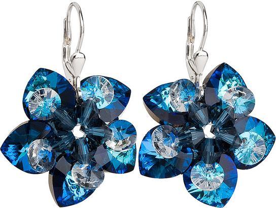 Stříbrné náušnice visací s krystaly Swarovski modrá kytička 31130.5, bermuda, blue