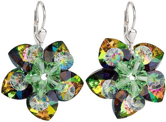 Stříbrné náušnice visací s krystaly Swarovski zelená kytička 31130.5, vitrail, medium