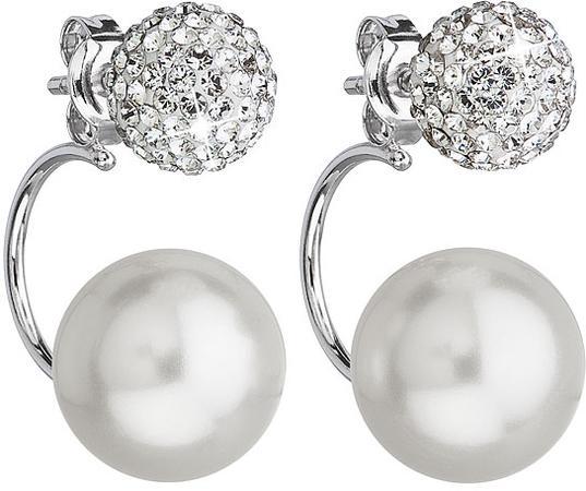 Stříbrné náušnice dvojité s krystaly Swarovski bílé kulaté 31179.1, bílá