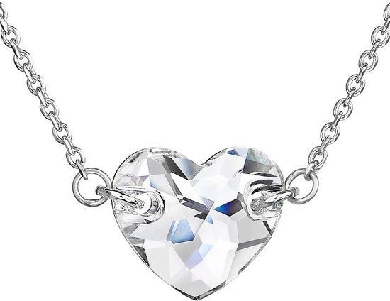 Stříbrný náhrdelník s krystaly Swarovski bílé srdce 32020.1, bílá