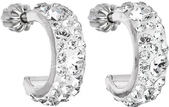 Stříbrné náušnice kruhy s krystaly Swarovski bílé půlkruh 31118.1 krystal, bílá, crystal