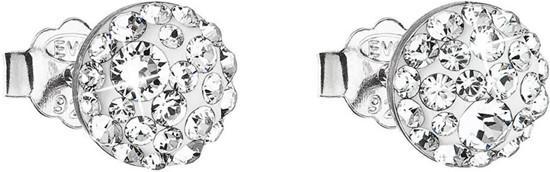 Stříbrné náušnice pecka s krystaly Swarovski bílé kulaté 31136.1, bílá, crystal