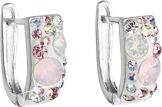 Stříbrné náušnice visací s krystaly Swarovski růžový půlkruh 31123.3 magic rose, crystal,, light, sapphire,, light, rose,, vintage, rose,, white, opal,, r, růžová