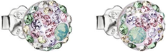 Stříbrné náušnice pecka s krystaly Swarovski mix barev kulaté 31136.3 sakura, chrysolite,, pacific, opal,, silver,, erinite,, vintage, rose,,, violet, barev,zelená,fialová,růžová