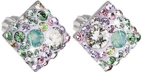 Stříbrné náušnice pecka s krystaly Swarovski mix barev kosočtverec 31169.3 sakura, luminous, green,, chrysolite,, pacific, opal,, silver,, violet,,, vinta, fialová,růžová,zelená,mix