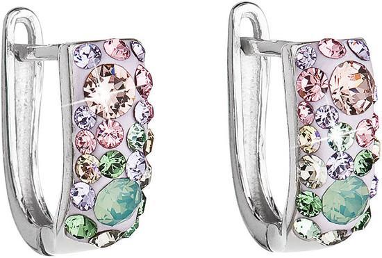 Stříbrné náušnice visací s krystaly Swarovski mix barev půlkruh 31123.3 sakura, luminous, green,, pacific, opal,, violet,light, rose,, shade,, chrysoli, fialová,mix, barev,růžová,zelená