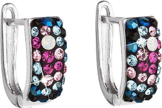 Stříbrné náušnice visací s krystaly Swarovski mix barev půlkruh 31123.4 galaxy, light, rose,, aqua,, fuchsia,, jet,,, white, opal,, metalic, blue,light, , růžová,modrá,mix