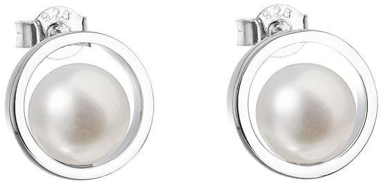 Evolution Group Stříbrné náušnice pecky s pravými perlami Pavona 21041.1