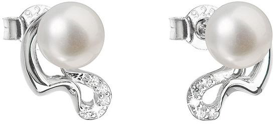 Evolution Group Stříbrné náušnice pecky s pravými perlami Pavona 21028.1