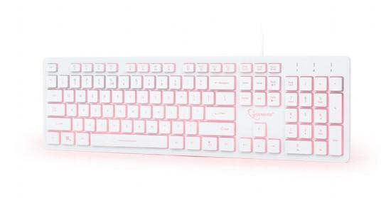 Gembird klávesnice drátová bílá, červené podsvícení, KB-UML3-01-W