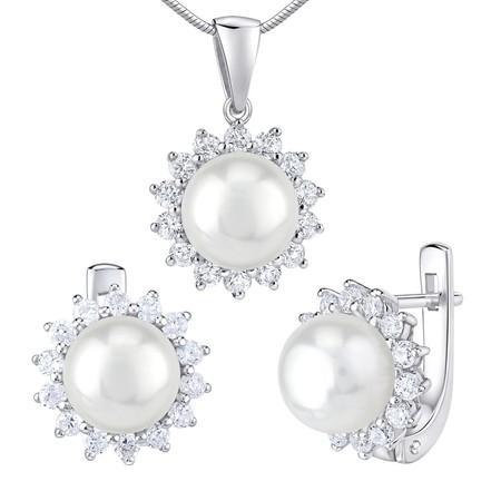 Silvego stříbrné šperky s přírodní bílou perlou náušnice a přívěsek LPS0156W