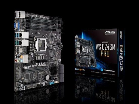 ASUS WS C246M PRO, Compact, rack-optimized Intel® LGA1151 micro-ATX, M.2, USB 3.1 Gen2 connectors, dual Gigabit LAN, 90SW00E0-M0EAY0