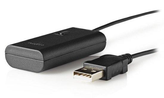 NEDIS bezdrátový audio vysílač (Transmitter)/ Bluetooth 3.0/ až 2 sluchátka/ 3,5mm jack/ USB/ černá, BTTR100BK