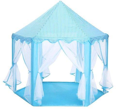 PIXINO Dětský stan na hraní Princeznin palác modrý
