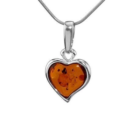 Silvego Stříbrný jantarový přívěsek LIBI ve tvaru srdce AAJB3602-H