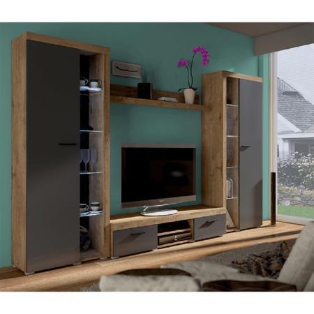 Tempo Kondela Obývací stěna, dub lefkas/grafit, NESEBAR XL