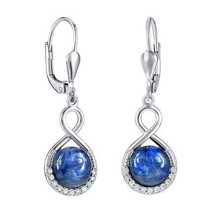 Stříbrné náušnice visací s přírodním modrým Kyanitem
