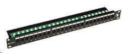 Solarix Patch panel 24 x RJ45 CAT6 UTP s vyvazovací lištou černý 1U, 24000341