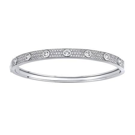 Luxusní kruhový stříbrný náramek pro ženy AMBER