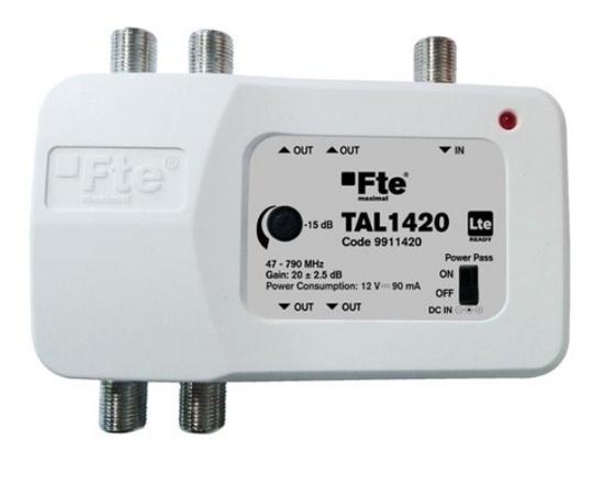 FTE linkový zesilovač TAL 1420 s LTE filtrem a regulací zisku, 2x výstup