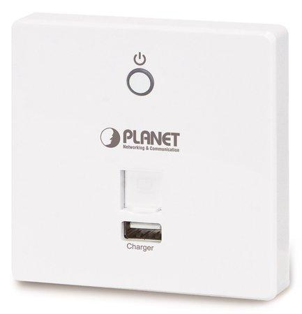 Planet WDAP-W750E, in-wall AP/router/repeater 802.11ac, 750Mbps, 2x2dBi, 64 klientů, PoE, USB nabíječka, do zdi 86x86, WDAP-W750E