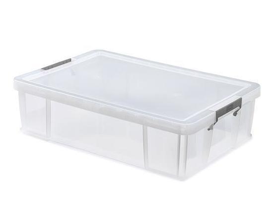 Box, plastový, s víkem, 37 l, průhledný, ALLSTORE