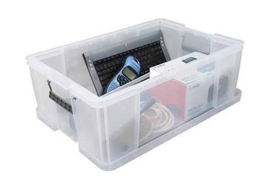 Box, plastový, s víkem, 51 l, průhledný, ALLSTORE