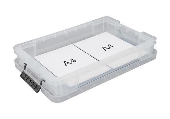 Box, plastový, s víkem, 12 l, průhledný, ALLSTORE