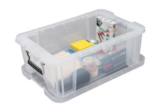 Box, plastový, s víkem, 15 l, průhledný, ALLSTORE
