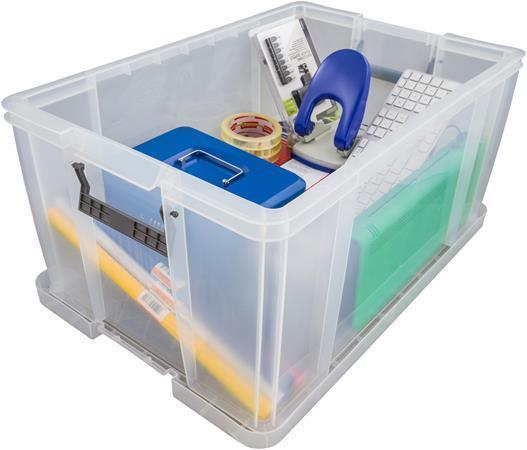 Box, plastový, s víkem, 70 l, průhledný, ALLSTORE