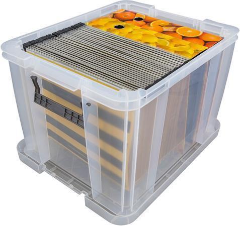 Box, plastový, s víkem, 36 l, průhledný, i pro závěsné desky, ALLSTORE