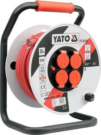 YATO YT-8106 Kabel 30m na cívce 4zásuvky PVC IP44 3G2,5mm 16A