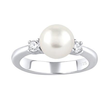 Stříbrný prsten MAYA s pravou přírodní perlou-obvod 55 mm, obvod