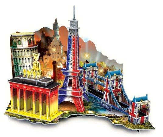M.I.C. Svítící 3D puzzle Diorama Cesta po Evropě 50 dílků