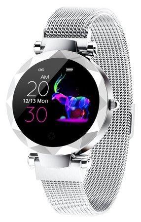 "IMMAX chytré hodinky SW12/ 1.04"" IPS LCD/ NRF52832/ BT/ IP67/ Android 4.4 / iOS 8.0 a vyšší/ dámské/ čeština/ stříbrné"