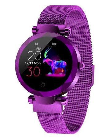 """IMMAX chytré hodinky SW12/ 1.04"""" IPS LCD/ NRF52832/ BT/ IP67/ Android 4.4 / iOS 8.0 a vyšší/ dámské/ čeština/ purpurové"""