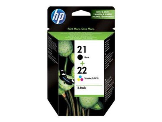 Inkoustová náplň HP No. 21+22, 2 pack, 190/165 stran originální - černá, SD367AE
