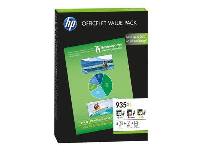 HP 935XL pack C/M/Y + 75 listů A4, F6U78AE