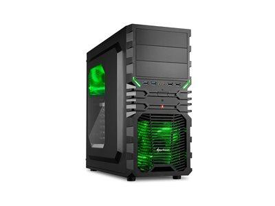 Sharkoon skříň VG4-W / Middle Tower / 2x USB3.0 / 2x USB2.0 / průhledná bočnice / zelené LED / černá